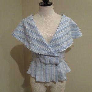 Gul Hurgel sailor collar striped linen wrap top